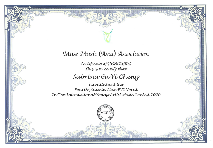2020.11.14 Muse Music Asia Association Class EV2 Vocal Fouth Place